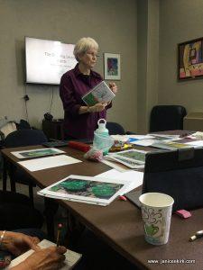 Jan teaching Nature Sketchbook Class, MN Winona Friendship Center, 2019